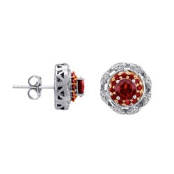 Sterling Silver 1/3ct TDW Diamond and Garnet Earrings (I-J, I2-I3) - Thumbnail 1