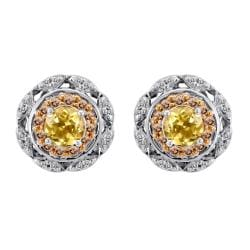 Silver Citrine and 1/3ct TDW Champagne and White Diamond Earrings (I-J, I2-I3)