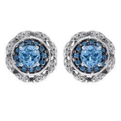 Silver Blue Topaz and 1/3ct TDW Blue and White Diamond Earrings (I-J, I2-I3)