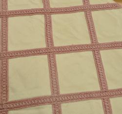 "Sadie Pink Stitched Silk Drapery Panel 84"" - Thumbnail 1"