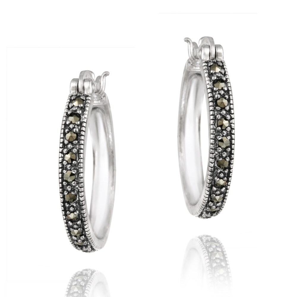 Glitzy Rocks Sterling Silver Marcasite 20-mm Hoop Earrings