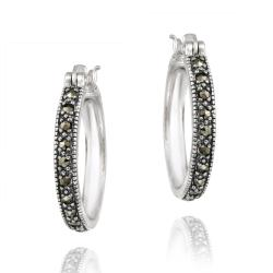 Glitzy Rocks Sterling Silver Marcasite 20-mm Hoop Earrings