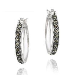 Glitzy Rocks Sterling Silver Marcasite 20 Mm Hoop Earrings