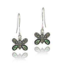 Glitzy Rocks Sterling Silver Marcasite and Abalone Butterfly Dangle Earrings