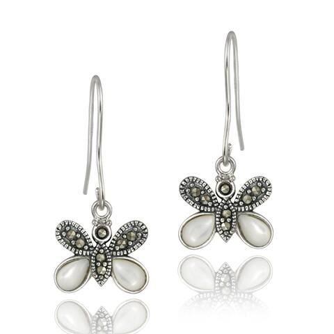 Glitzy Rocks Sterling Silver Marcasite and Mother of Pearl Butterfly Dangle Earrings