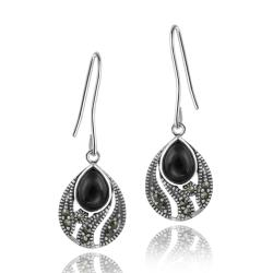 Glitzy Rocks Sterling Silver Marcasite and Onyx Teardrop Dangle Earrings