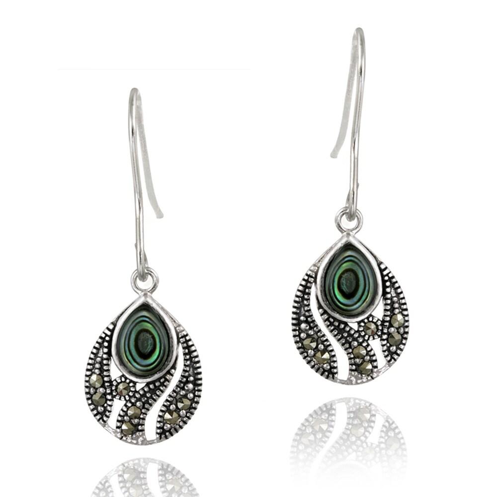 Glitzy Rocks Sterling Silver Marcasite and Abalone Teardrop Dangle Earrings