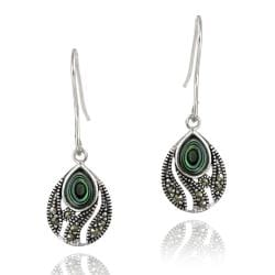 Glitzy Rocks Sterling Silver Marcasite and Abalone Teardrop Dangle Earrings