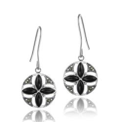 Glitzy Rocks Sterling Silver Marcasite and Onyx Round Flower Dangle Earrings
