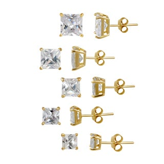 Icz Stonez Gold over Silver Cubic Zirconia Stud Earrings (Set of 5) (24.8ct TGW)
