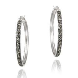 Glitzy Rocks Sterling Silver Marcasite 35-mm Hoop Earrings