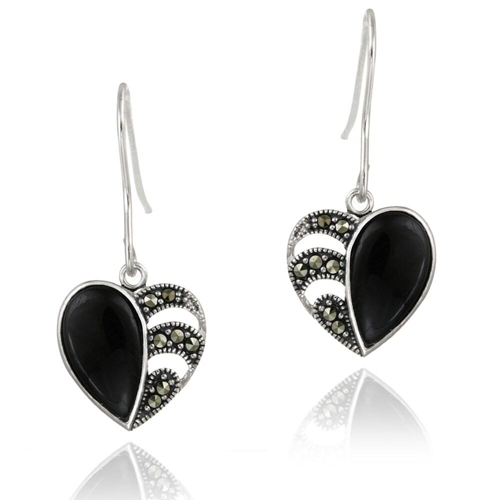 Glitzy Rocks Sterling Silver Marcasite and Onyx Heart Dangle Earrings