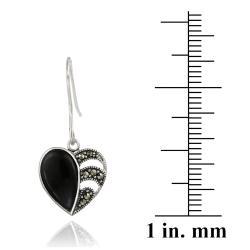 Glitzy Rocks Sterling Silver Marcasite and Onyx Heart Dangle Earrings - Thumbnail 2