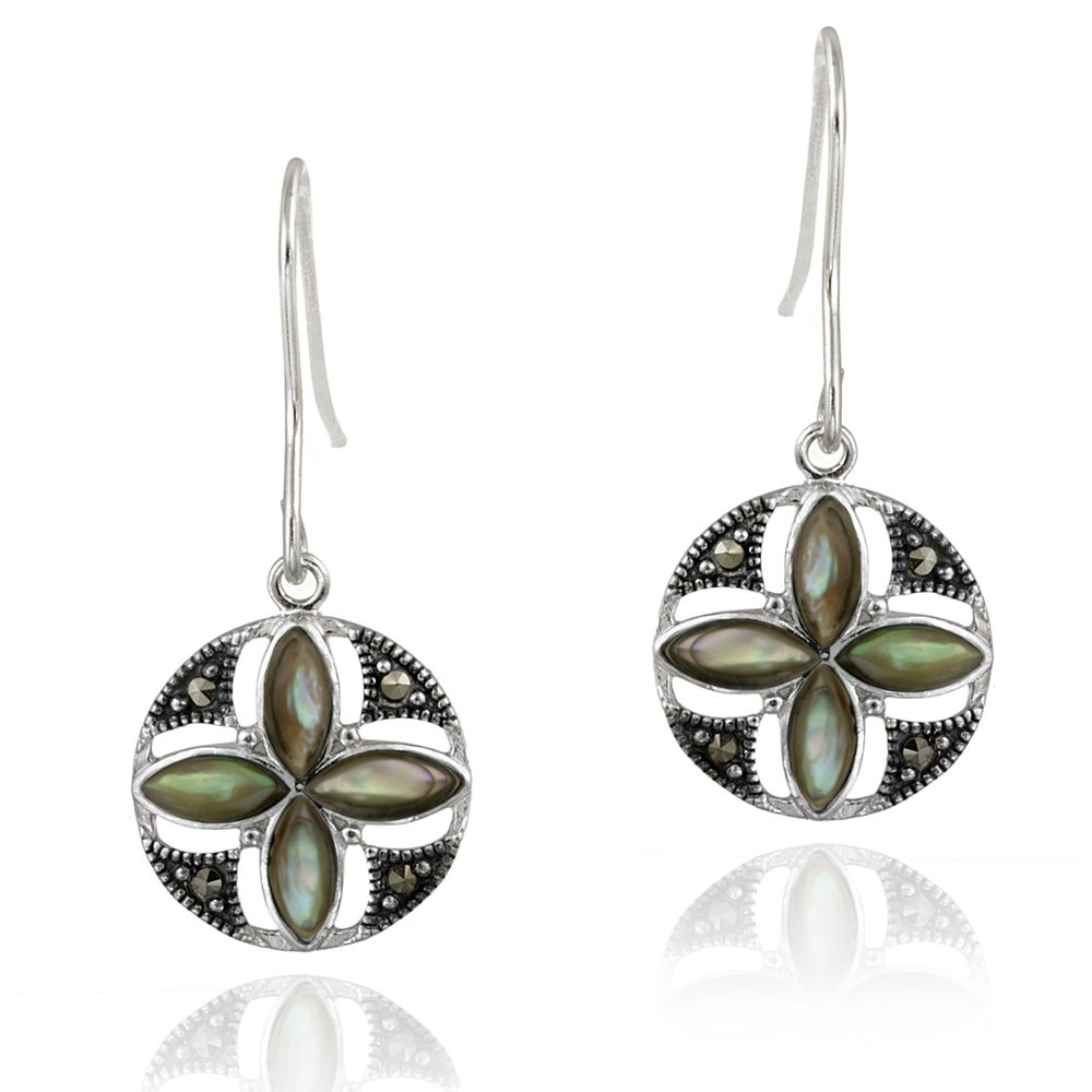Glitzy Rocks Sterling Silver Marcasite and Abalone Round Flower Dangle Earrings