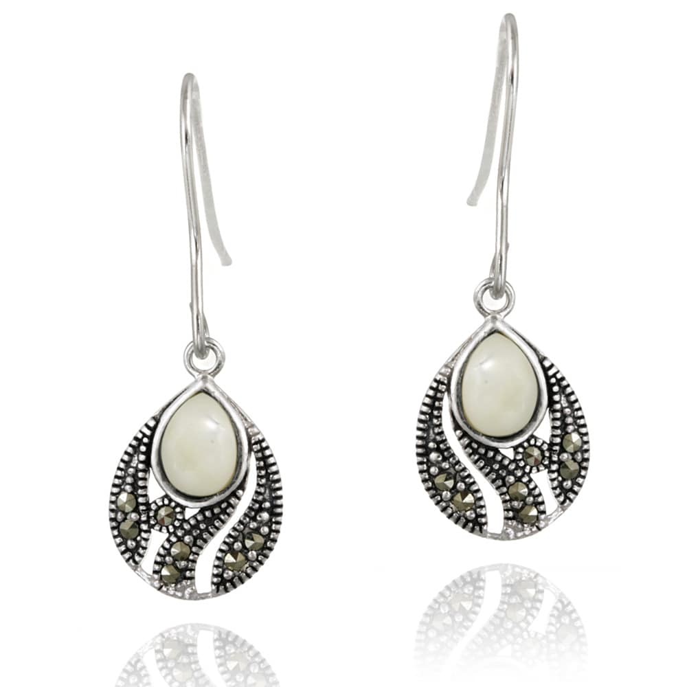 Glitzy Rocks Silver Marcasite and Mother of Pearl Teardrop Dangle Earrings - Thumbnail 0