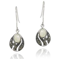 Glitzy Rocks Silver Marcasite and Mother of Pearl Teardrop Dangle Earrings