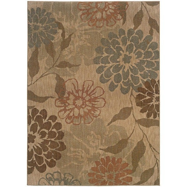 "Berkley Beige/ Green Area Rug (9'10 x 12'9) - 9'10"" x 12'9"""