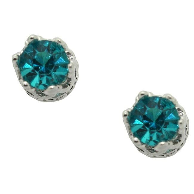Gioelli Sterling Silver Turquoise Cubic Zirconia Stud Earrings