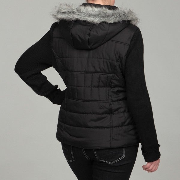 Black Faux Fur Jacket With Hood