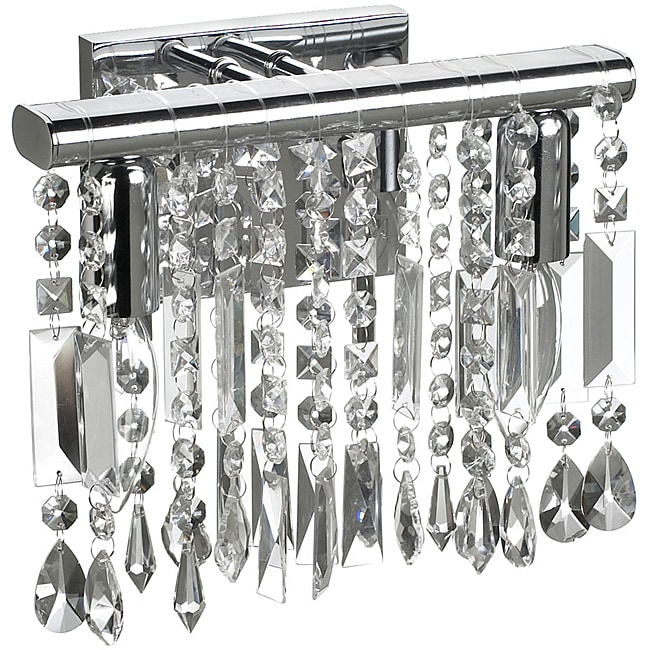 """2 Light Chrome Crystal Wall Sconce Vanity Fixture 10"""""""