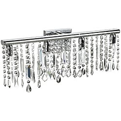 4 Light Chrome Crystal Wall Sconce Bathroom Vanity Fixture 24""