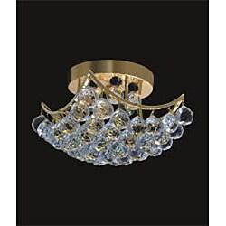 Chrome or Gold 6-light Crystal Ball Flush Mount Chandelier