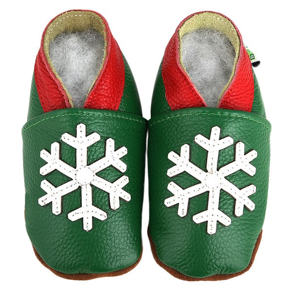 Snowflake Soft-Sole Green Leather Baby Shoes
