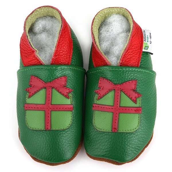 Christmas Gift Soft Sole Leather Baby Shoes