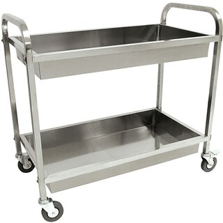 "Bayou Classic® 4873 - Stainless Steel Serving Cart - Silver - 30""h x 35""w x 19""d"