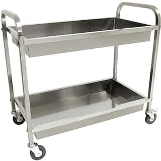 """Bayou Classic® 4873 - Stainless Steel Serving Cart - Silver - 30""""h x 35""""w x 19""""d"""