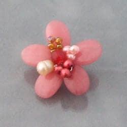 Adorable Pink Quartz Floral Serenity Brooch (5-7mm)(Thailand)