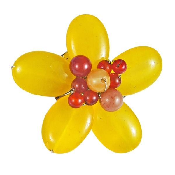 e58e87623e920 Shop Handmade Adorable Champagne Orange Quartz Floral Serenity Pin ...