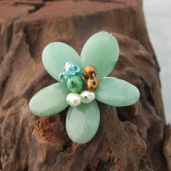 Handmade Silvertone Aventurine and Pearl Flower Ring (3-7 mm)(Thailand)