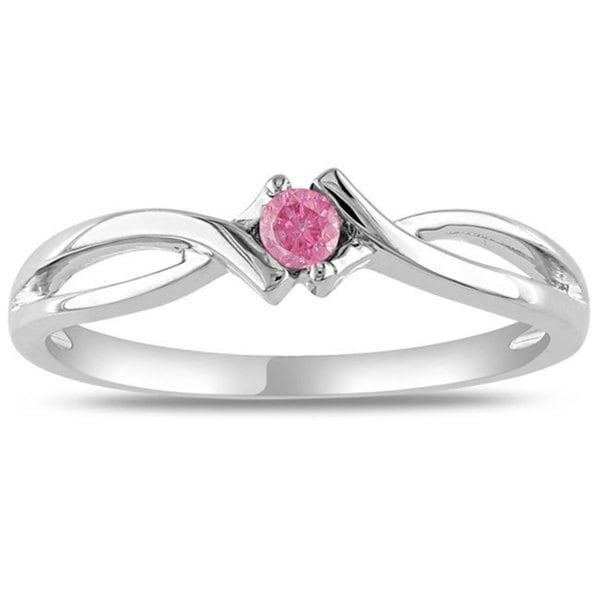 Miadora Sterling Sliver 1/10 CT TDW Pink Diamond Ring