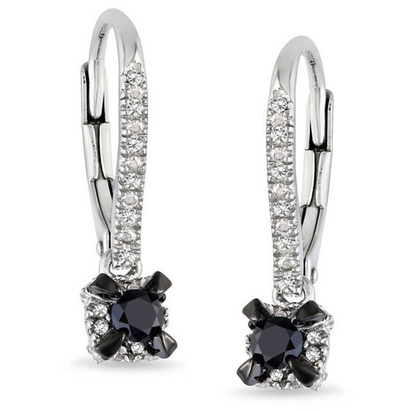 Miadora Sterling Sliver 1/3 CT TDW Black and White Diamond Earrings