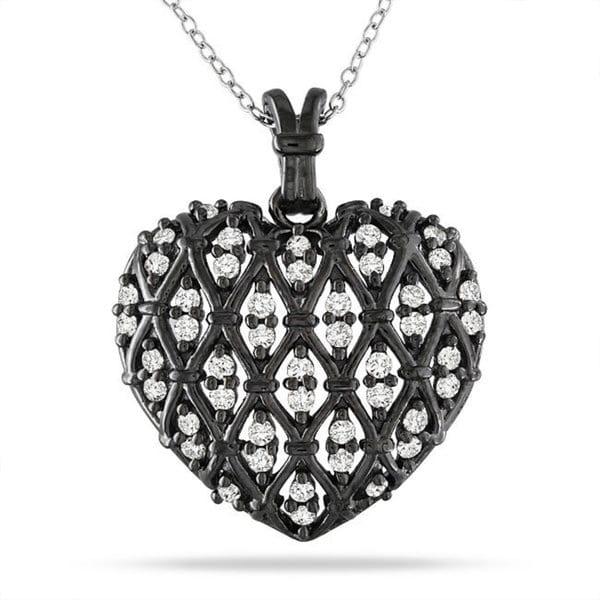 Miadora Sterling Silver 1 CT TDW Diamond Heart Pendant With Chain