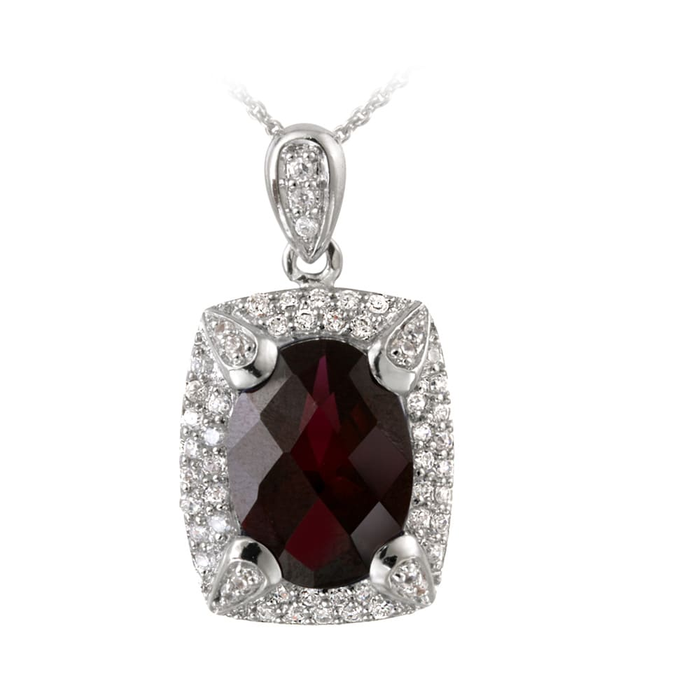Glitzy Rocks Rhodium-plated Lab-created Ruby and CZ Accent Necklace (7.25ct TGW) - Thumbnail 0