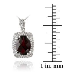 Glitzy Rocks Rhodium-plated Lab-created Ruby and CZ Accent Necklace (7.25ct TGW) - Thumbnail 2