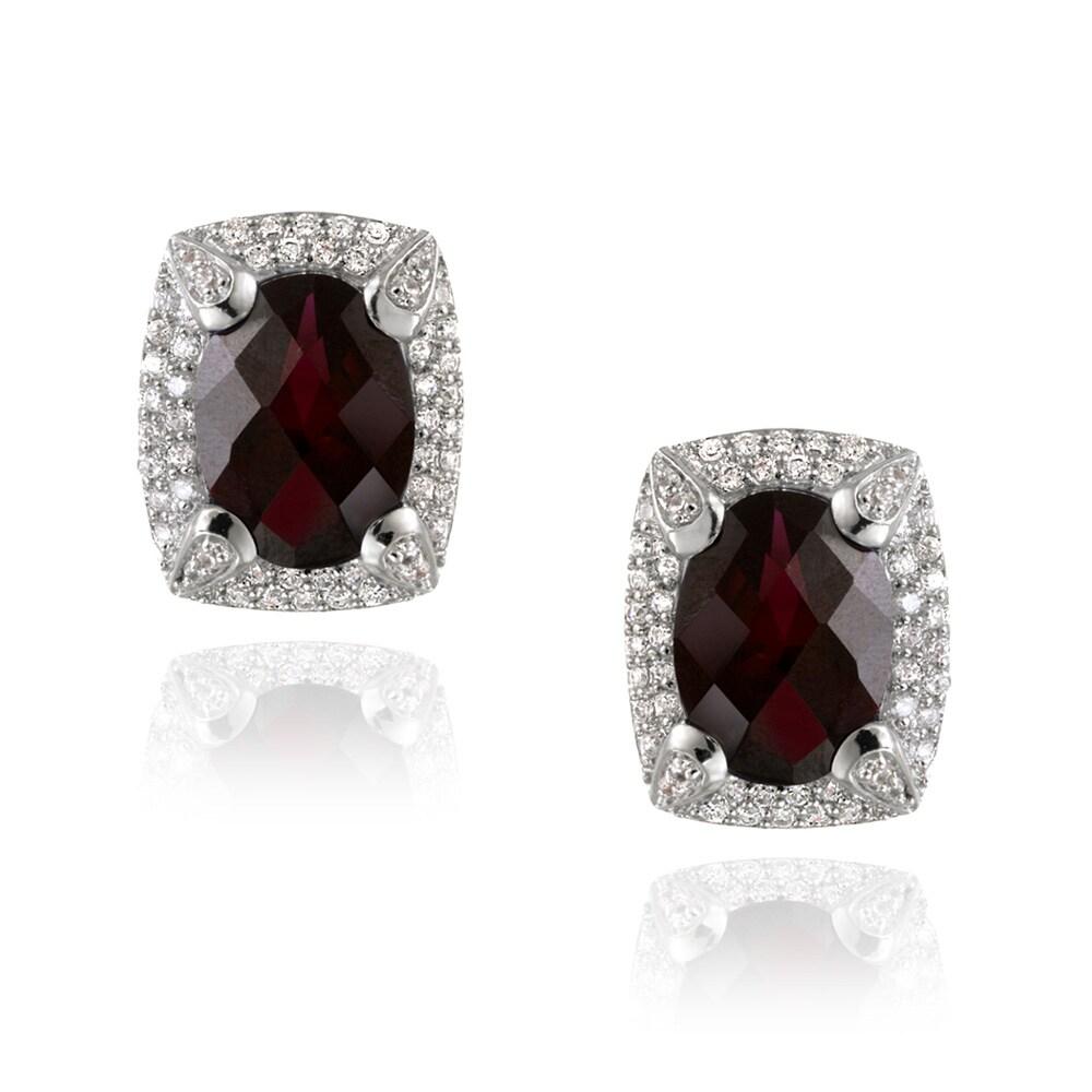 Glitzy Rocks Rhodium-plated Lab-created Ruby and CZ Accent Earrings (7.3ct TGW)