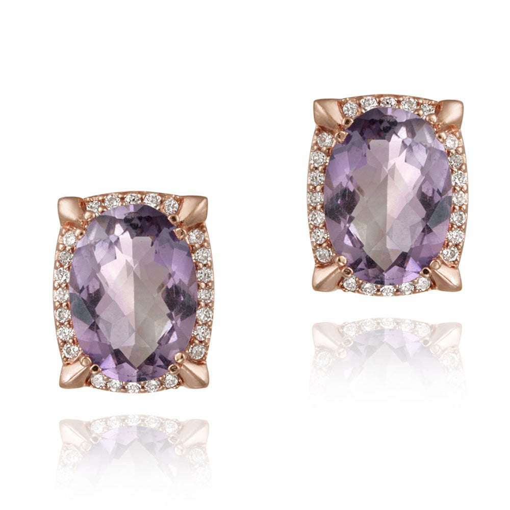 Glitzy Rocks Rose Goldplated Amethyst and Cubic Zirconia Earrings (6.2ct TGW)
