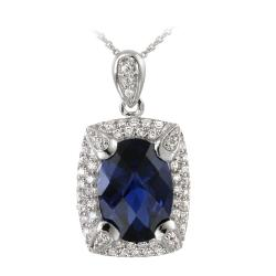 Glitzy Rocks Rhodiumplated Lab-created Sapphire and CZ Necklace (7.25ct TGW)
