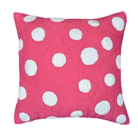 Cottage Home Laila Hot Pink Dot Cotton 16 Inch Throw Pillow