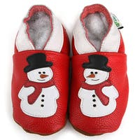 Snowman Soft Sole Leather Slip-On Baby Shoes