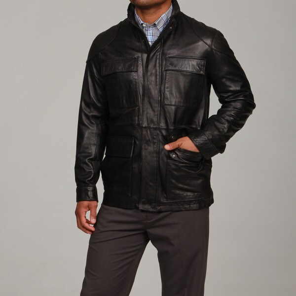 Larry Levine Men's Lambskin Leather 4-pocket Jacket