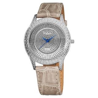 Akribos XXIV Women's Diamond Grey Brilliance Swiss Quartz Strap Watch