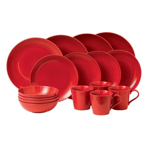Gordon Ramsay by Royal Doulton Maze Chilli Red 16-piece Dinnerware Set (Service for 4)