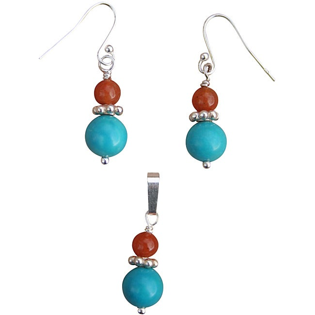 Beadwork By Julie Nevada Turquoise/ Red Aventurine Earrin...