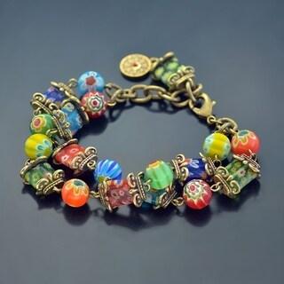 Sweet Romance Retro Gold Millefiori Glass Rainbow Bead Link Bracelet