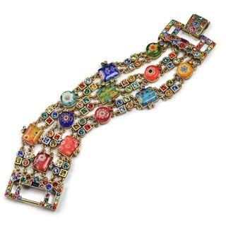 Sweet Romance Gold Millefiori Rainbow Crystal Deco Statement Bracelet