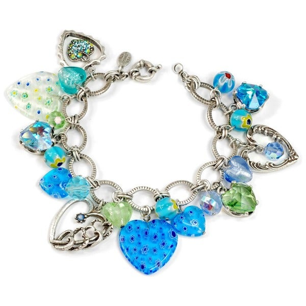 Sweet Romance Blue Millefiori and Crystal Heart Charm Bracelet